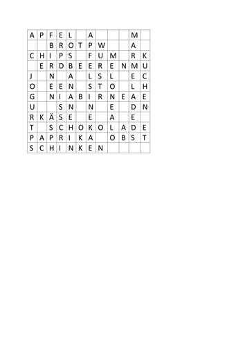 Food and Drink Wordsearch
