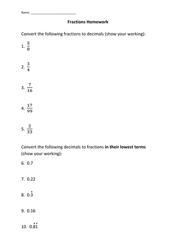 fraction decimal conversion worksheet by awilki  teaching  fraction decimal conversion worksheet by awilki  teaching resources  tes
