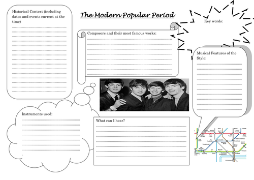 Musical History Worksheets   Teaching Resources