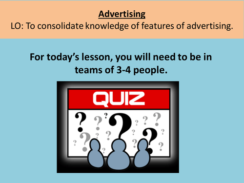 Advertising quiz- end of term