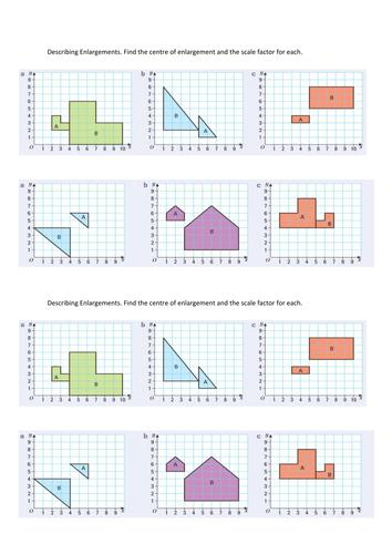 Enlargement Worksheet by MrBartonMaths - Teaching Resources - Tes