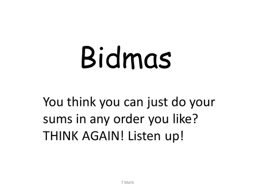 BIDMAS - Order of Operations - Lesson + Game