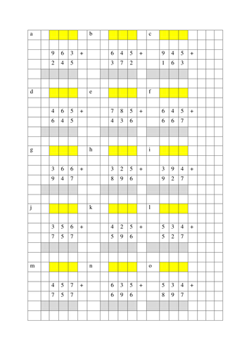Column addition of 3 digit numbers. by judesd - Teaching Resources ...