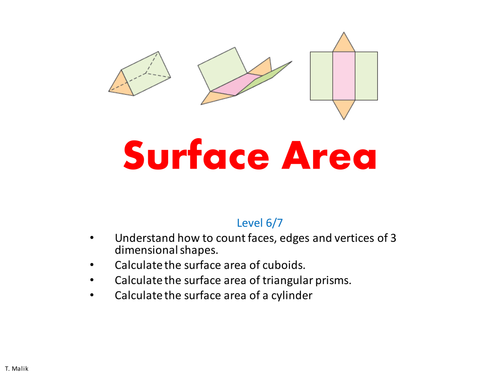 Surface Area Illustrated By Tamoor Teaching Resources Tes