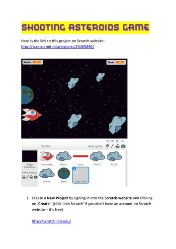 Scratch Tutorial 10 - Shooting Asteroids Game by np11