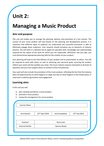 BTEC Unit 2: Managing a Music Product