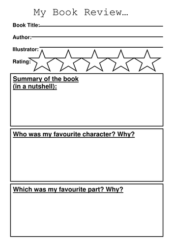 Book Review Template By Sibrooks Teaching Resources Tes