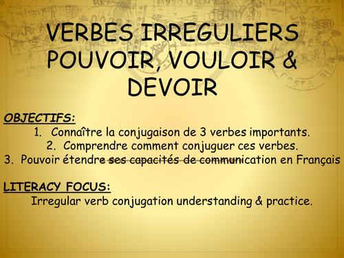 Verbes Irreguliers Devoir Pouvoir Et Vouloir Teaching Resources