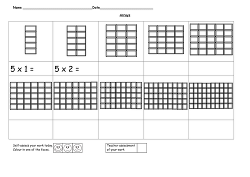 Arrays - 5 time tables by ruthbentham - Teaching Resources - TES