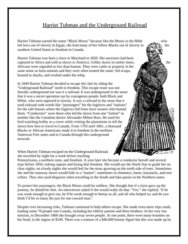 Refreshing image for harriet tubman printable worksheets