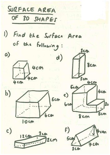 surface area of cuboids compound shape worksheet by ryangoldspink teaching resources tes. Black Bedroom Furniture Sets. Home Design Ideas