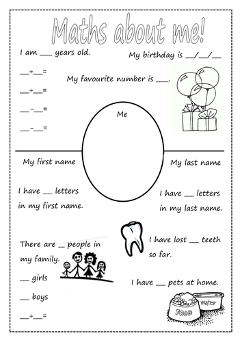 maths about me first day activity by jellyhead1 teaching resources tes. Black Bedroom Furniture Sets. Home Design Ideas