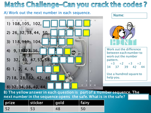 Number sequences- Can you crack the code? by Lizzedoo - Teaching ...