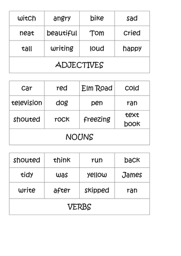Worksheets Classifying Nouns Verbs And Adjectives Worksheets Answers nouns verbs adjectives ks2 activities by shanfog teaching resources tes