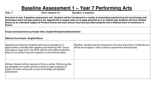 Year 7 Baseline Assessment