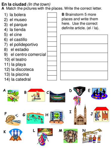 places in the town worksheets y6 spanish by rhawkes teaching resources. Black Bedroom Furniture Sets. Home Design Ideas