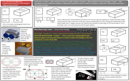 Lamp Head Design help sheet