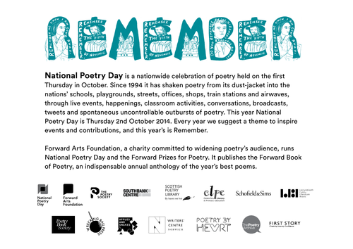 National Poetry Day Remember Educational Resource
