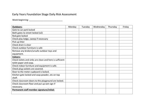 EYFS Daily Risk Assessments