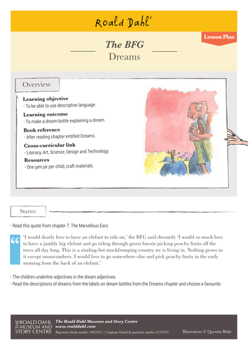 Classroom Writing Ideas ~ Roald dahl s the bfg lesson plan by
