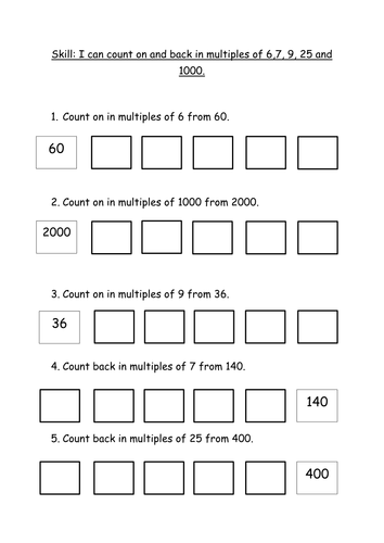 Counting on in multiples of 6 7 9 25 and 1000 by for Multiples de 6