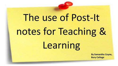 Plenary Ideas - Using post-it notes as plenaries