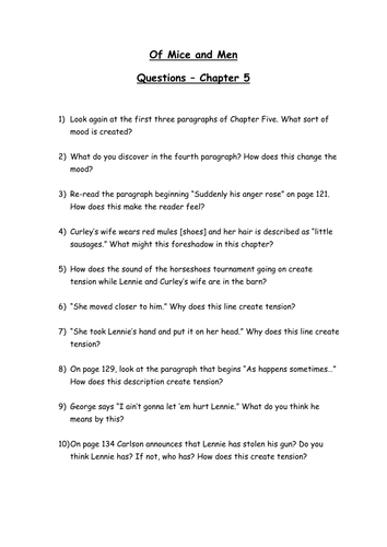 Worksheet Of Mice And Men Worksheets of mice and men worksheets activities by phines08 teaching questions chapter 5 doc