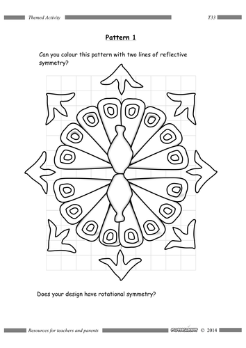 Peacock Symmetry colouring exercise by Mathsright