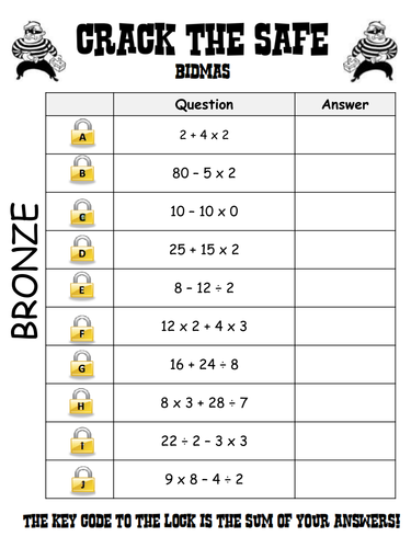 BIDMAS: Crack the Safe (Level 4-5/Grade F-E) by arthompson1987 ...