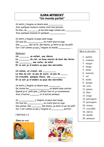 Lyrics Un Monde Parfait Gap Filling Exercise Teaching Resources