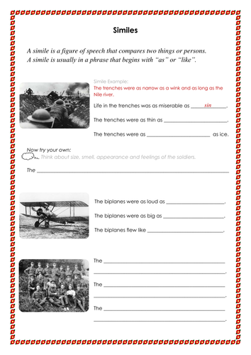 Similes Figurative Language War Theme By Lwalsh75 Teaching