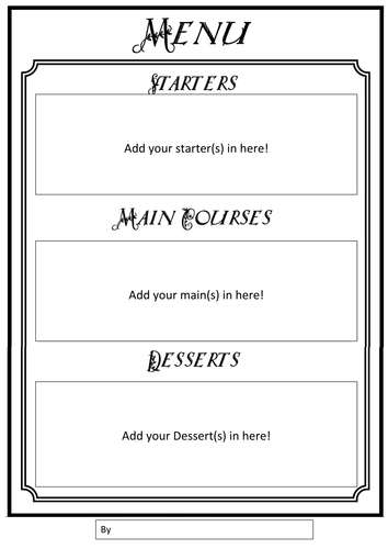 tudor menu template - menu writing frames by gill2307 teaching resources tes