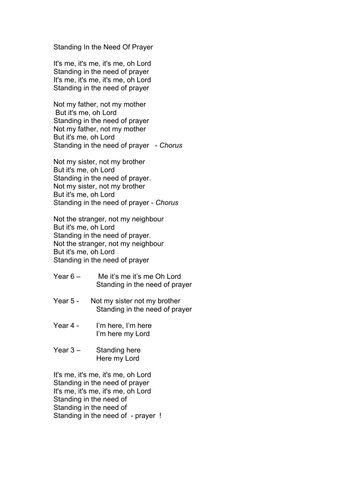 Assembly song in Gospel style  Standing in The Need  of Prayer
