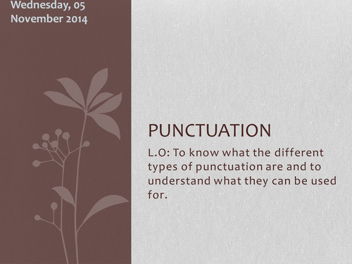 Punctuation - the features of punctuation