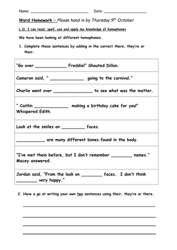 Homophones There Their And Theyre By Bethrob Teaching Resources Tes