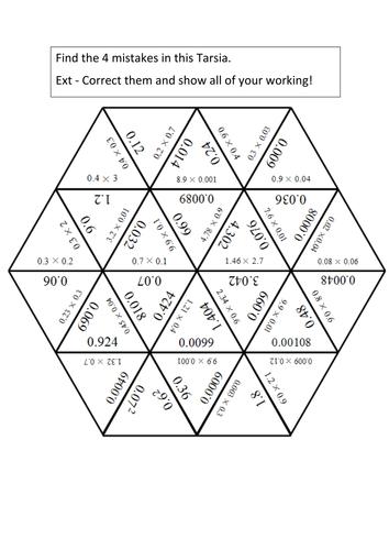 Multiplying Decimals Mistakes Tarsia by fosh_jish