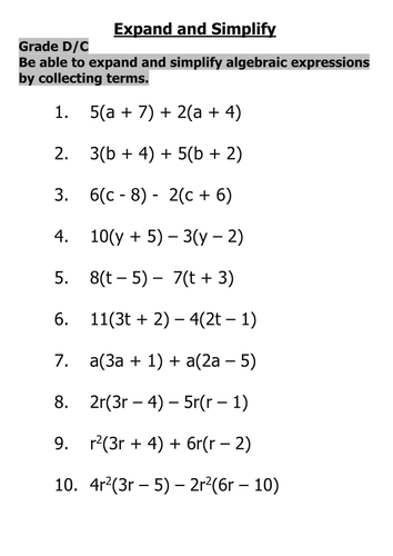 Worksheet Simplify Algebraic Expressions Worksheet expand and simplify algebraic expressions by tajhussain teaching resources tes
