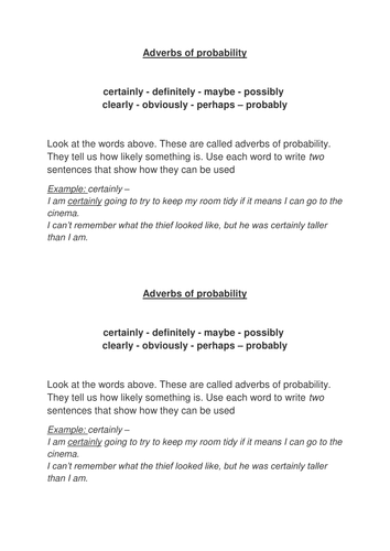 Adverbs Of Probability By Rwaft Teaching Resources Tes