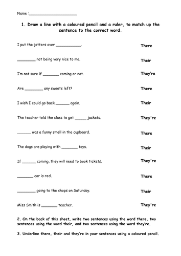 There, their and they're worksheet. by EvMajor14 - Teaching ...