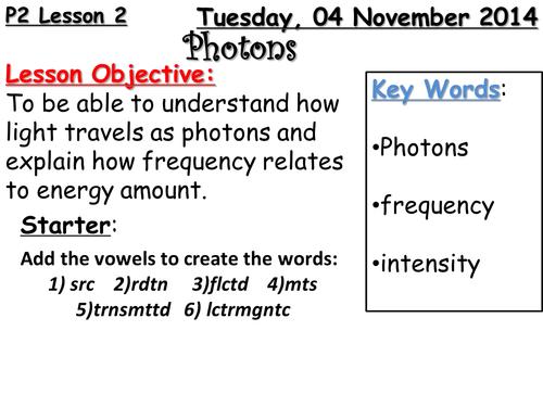 Photons  lesson 2 & 3 OCR scheme