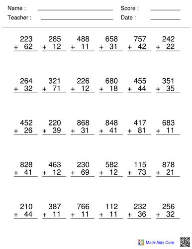 Column Addition Worksheets 2 digit to 4 digit by HannahBryant ...