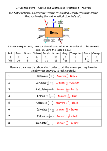 Defuse The Bomb - Adding and Subtracting Fractions by alutwyche ...