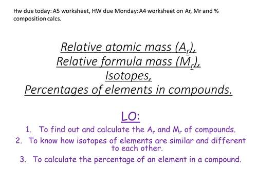 Ar Mr By Mass Isotopes By Lottielou1986 Teaching Resources Tes