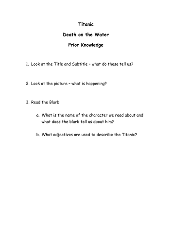 Titanic Death on the Water Novel Study Worksheets