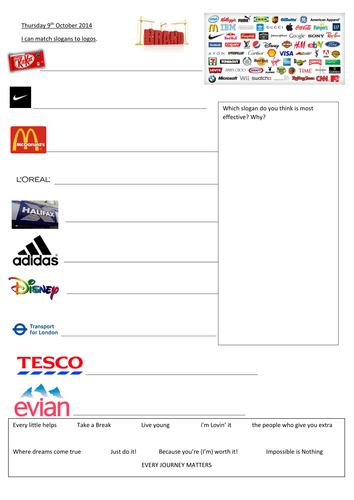 Adverts - match slogan to logo by landoflearning | Teaching Resources