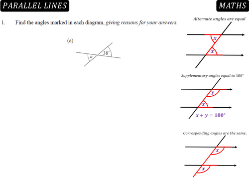 Angles In Parallel Lines By Rebeckyxo Teaching Resources Tes