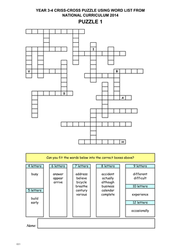 Year 3 4 criss cross puzzles by publicsecondary teaching resources year 3 4 criss cross puzzles by publicsecondary teaching resources tes ccuart Image collections