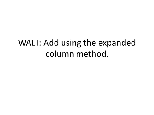 Expanded Column Addition