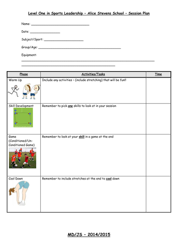 Sports leaders level 1 lesson plan for mld pupils by for Sports lesson plan template