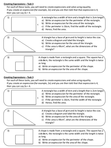 Forming Algebraic Expressions - Extension Activity